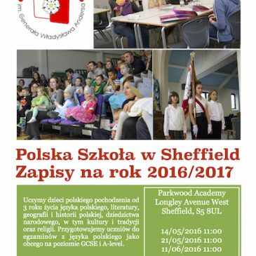 2016/2017 enrolment to Polish School in Sheffield
