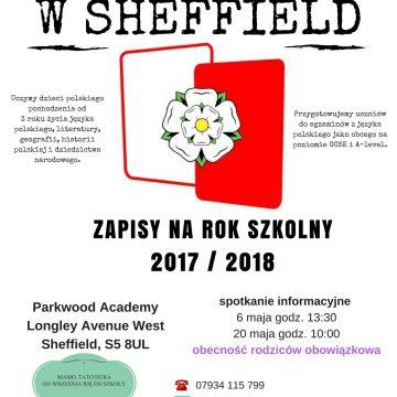 2017/2018 enrolment to Polish School in Sheffield