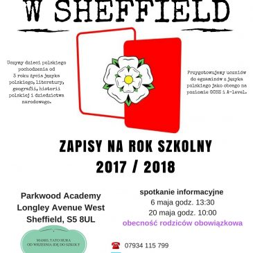 2017/2018 enrolment to Polish School in Sheffield
