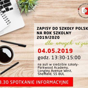 Zmiana godziny zapisów do Szkoły 4 maja 2019r.