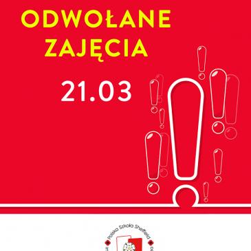 Odwołane zajęcia / Zapisy 2020/21